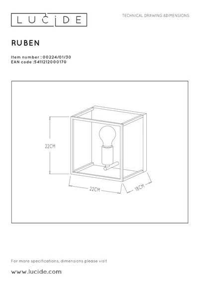 Lucide RUBEN - Wandlamp - 1xE27 - Zwart