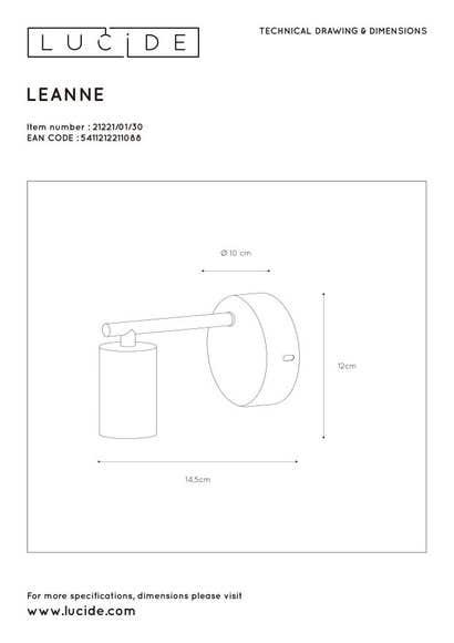 Lucide LEANNE - Wandlamp - 1xE27 - Zwart