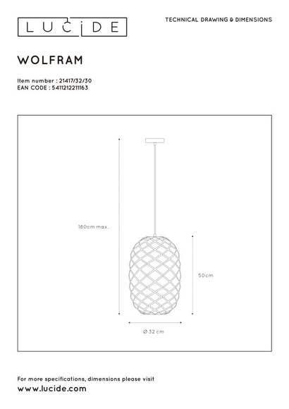 Lucide WOLFRAM - Hanglamp - Ø 32 cm - 1xE27 - Zwart
