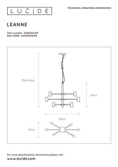 Lucide LEANNE - Hanglamp - 6xE27 - Zwart