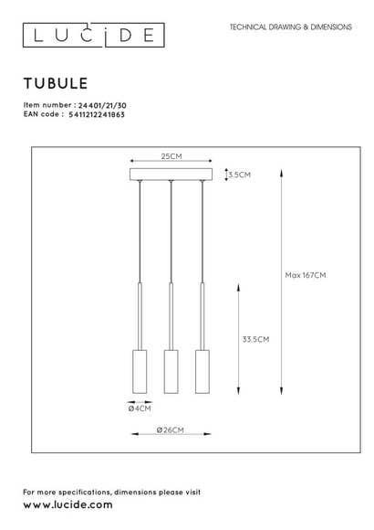 Lucide TUBULE - Hanglamp - Ø 26 cm - LED - 3x7W 2700K - Zwart