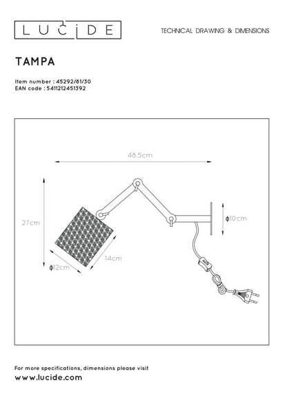 Lucide TAMPA - Wandlamp - Ø 12 cm - 1xE27 - Zwart