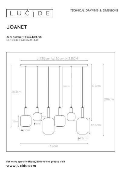 Lucide JOANET - Hanglamp - 6xE27 - Fumé