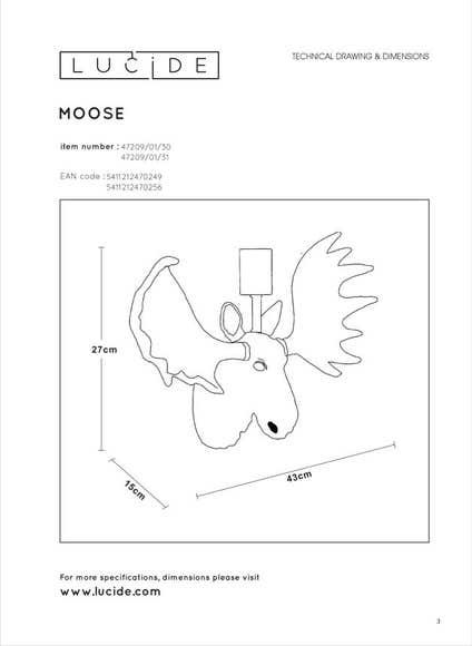 Lucide EXTRAVAGANZA MOOSE - Wandlamp - 1xE27 - Zwart