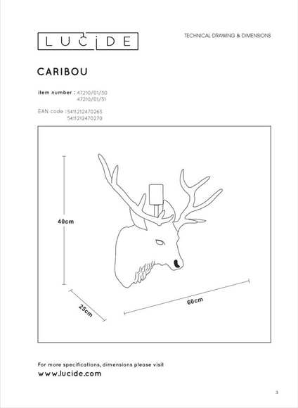 Lucide EXTRAVAGANZA CARIBOU - Wandlamp - 1xE27 - Wit
