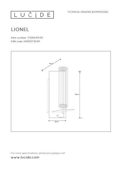 Lucide LIONEL - Wandlamp - Ø 6,5 cm - 1xE27 - Zwart