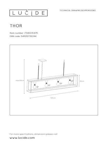 Lucide THOR - Hanglamp - 4xE27 - Grijs ijzer