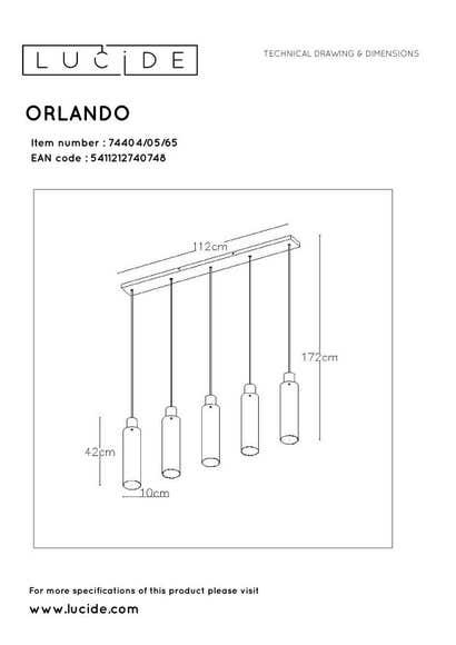 Lucide ORLANDO - Hanglamp - 5xE27 - Fumé