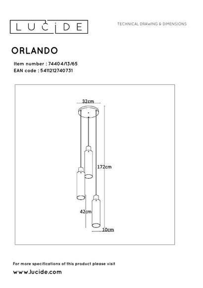 Lucide ORLANDO - Hanglamp - Ø 32 cm - 3xE27 - Fumé