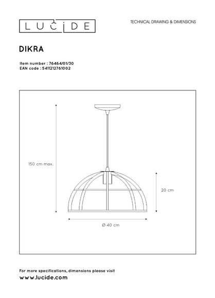 Lucide DIKRA - Hanglamp - Ø 40 cm - 1xE27 - Zwart