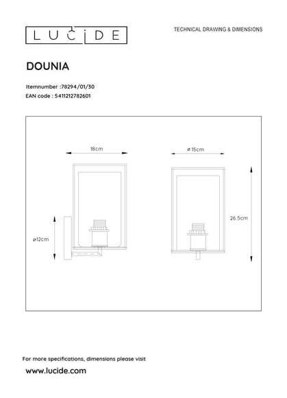 Lucide DOUNIA - Wandlamp - Ø 15 cm - 1xE27 - Zwart