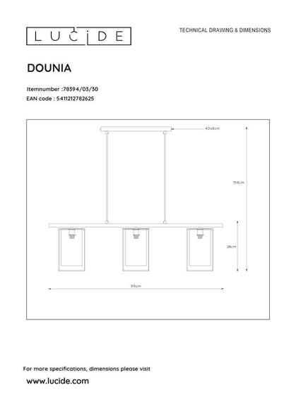 Lucide DOUNIA - Hanglamp - 3xE27 - Zwart