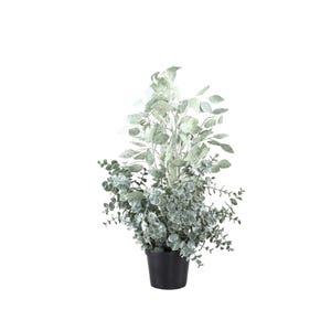 PTMD Kunstplant - Leaves Ecalyptus Grijs - Groen